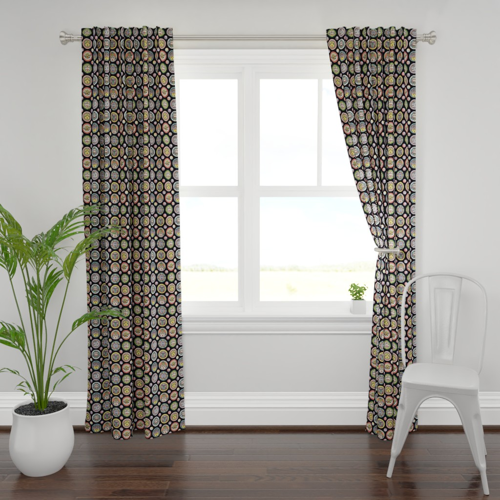 Plymouth Curtain Panel featuring navagraha – nine smiling faces by colorofmagic