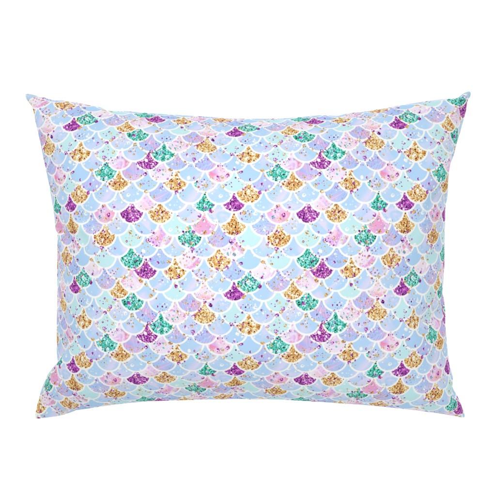 "Campine Pillow Sham featuring Mermaid scales aqua glitter 1"" by parisbebe"