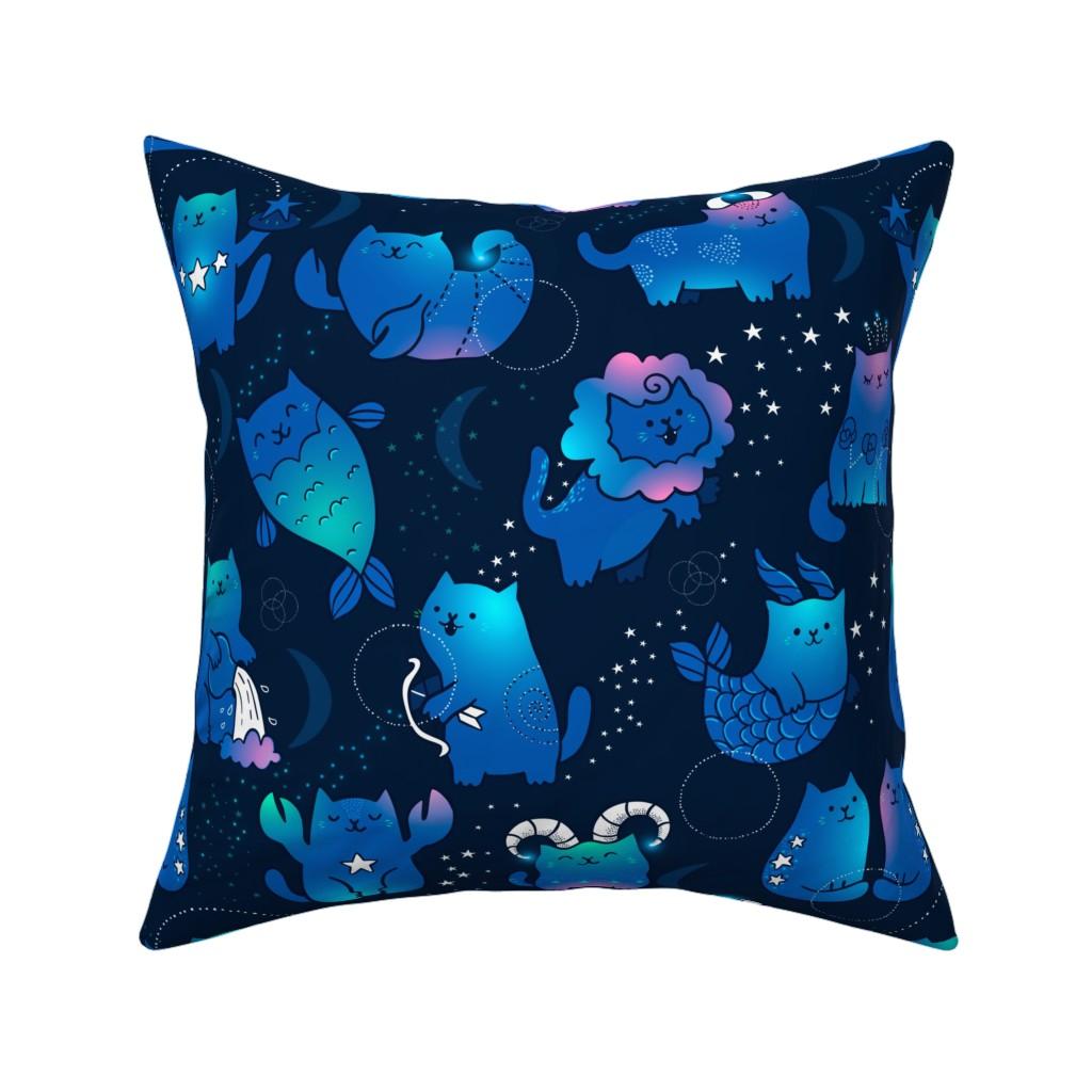 Catalan Throw Pillow featuring Large Cute cats zodiac pattern. Kawaii astrology animals design. Big. by kostolom3000