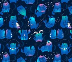 Large Cute cats zodiac pattern. Kawaii astrology animals design. Big.