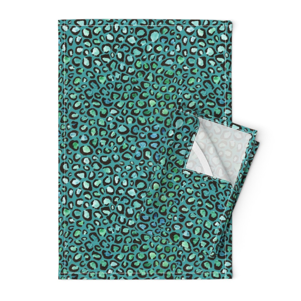 Orpington Tea Towels featuring Blue and Green cheetah print - teal background by diseminger