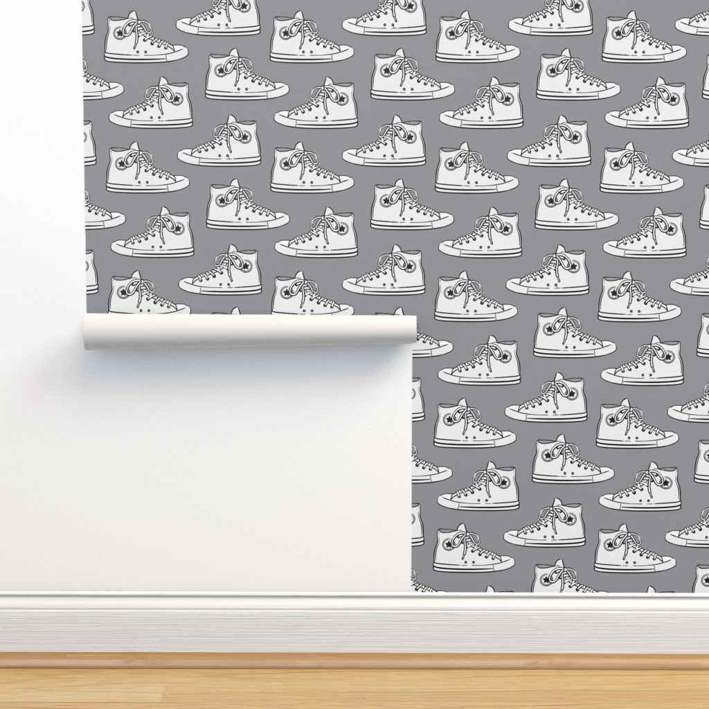 Isobar Durable Wallpaper featuring Retro Shoes - White on Grey - Chucks by littlearrowdesign