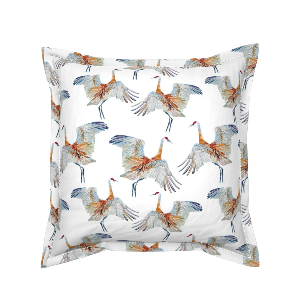 Serama Throw Pillow featuring Ancient Wings Sandhill Crane by vickylilla