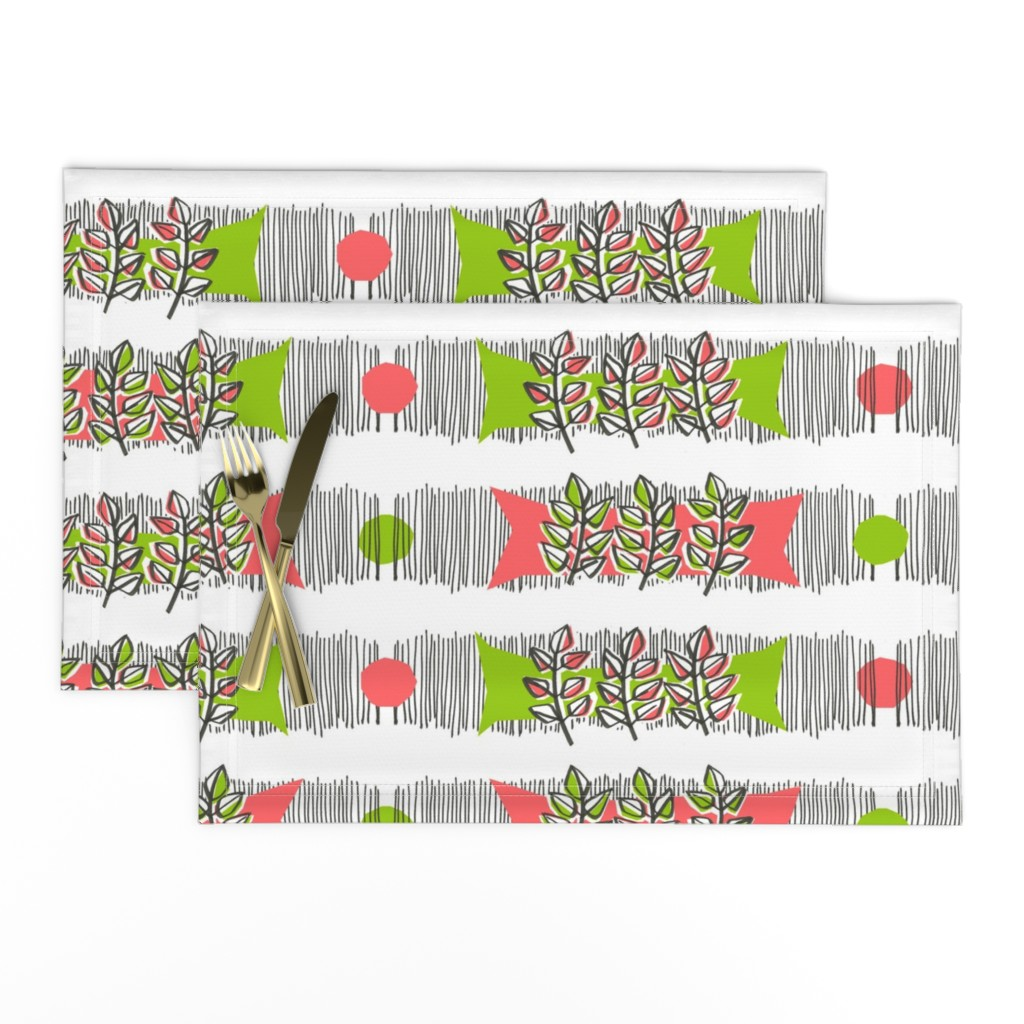 Lamona Cloth Placemats featuring Sweet basil waves by moirarae