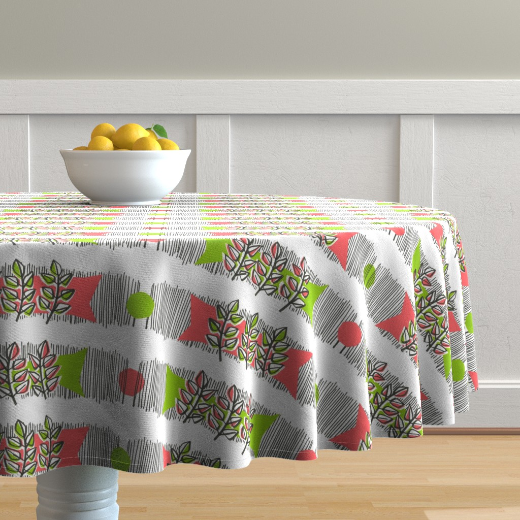 Malay Round Tablecloth featuring PINK BASIL by moirarae