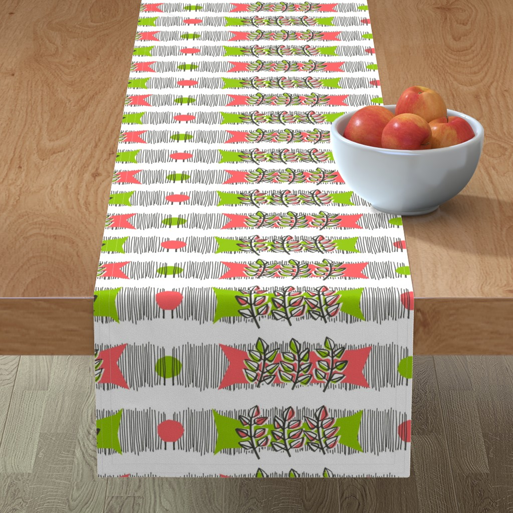 Minorca Table Runner featuring Sweet basil waves by moirarae