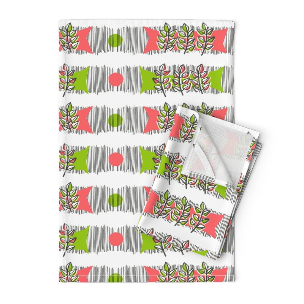 Orpington Tea Towels featuring Sweet basil waves by moirarae