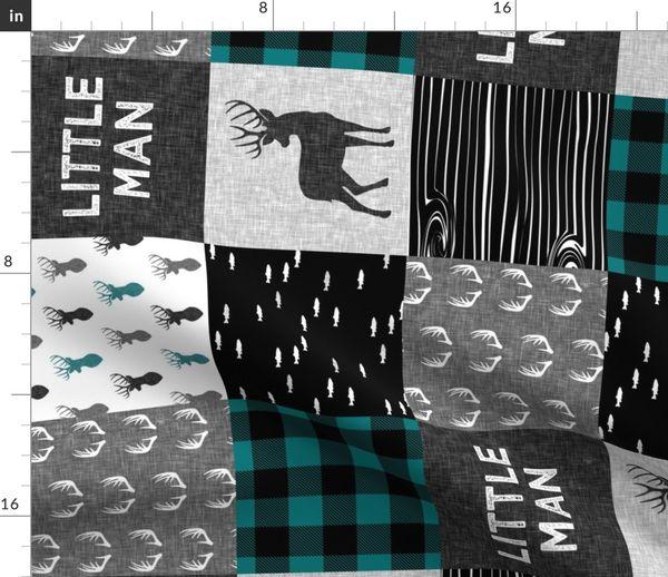 Stoff Meterware Wald Hirsch Quiltoptik Quilt Schottenkaro Petrol Decke Wholecloth