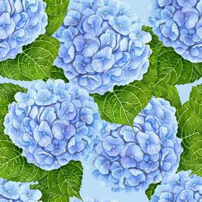 Blue hydrangea watercolor pattern
