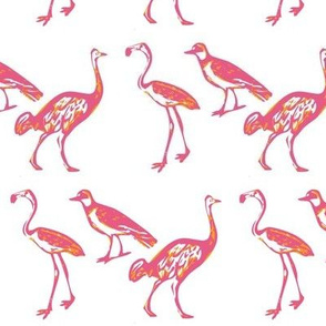 Seabirds in Coral and Pink