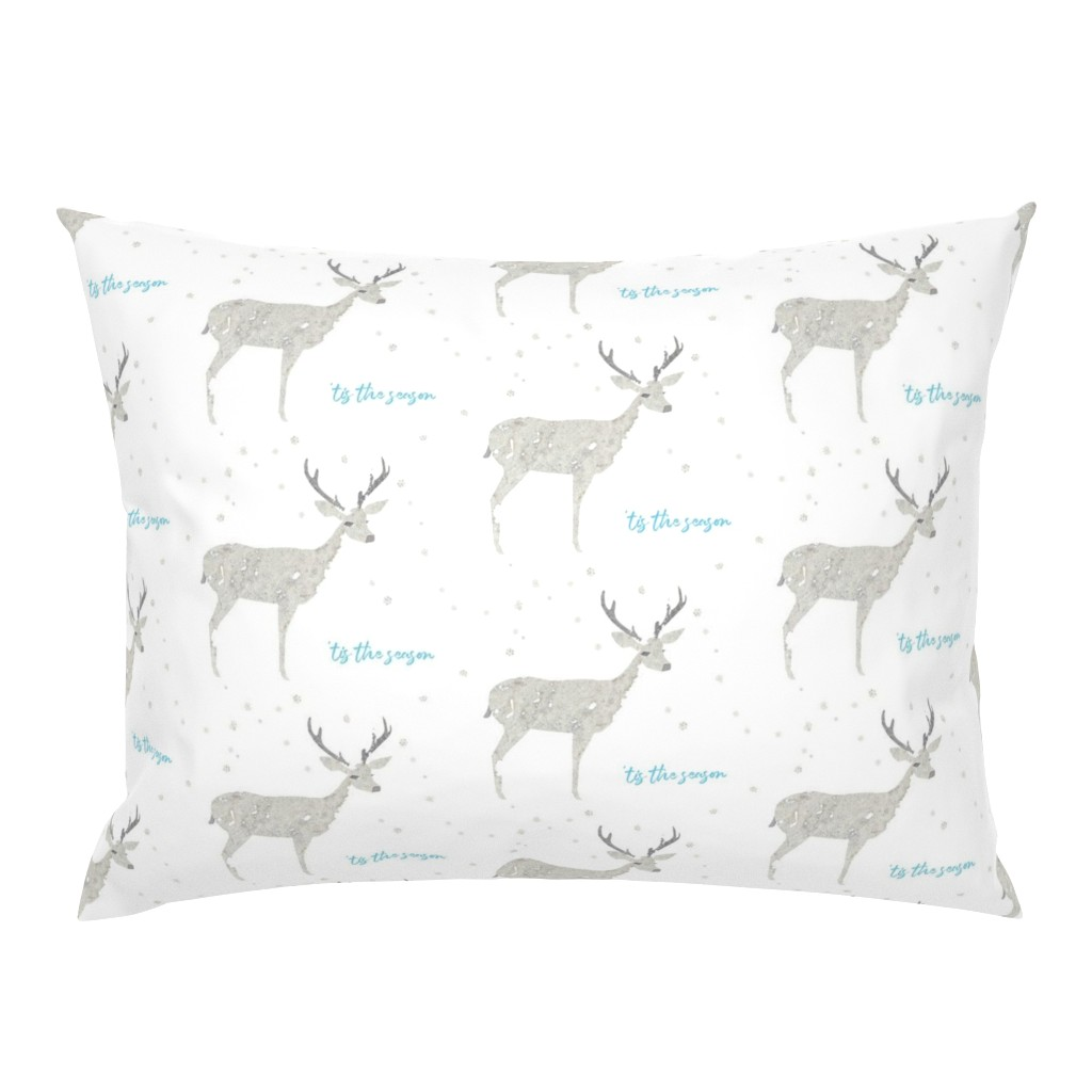 Campine Pillow Sham featuring 'Tis the Season, Deer and Snowflakes Collage by kendrashedenhelm