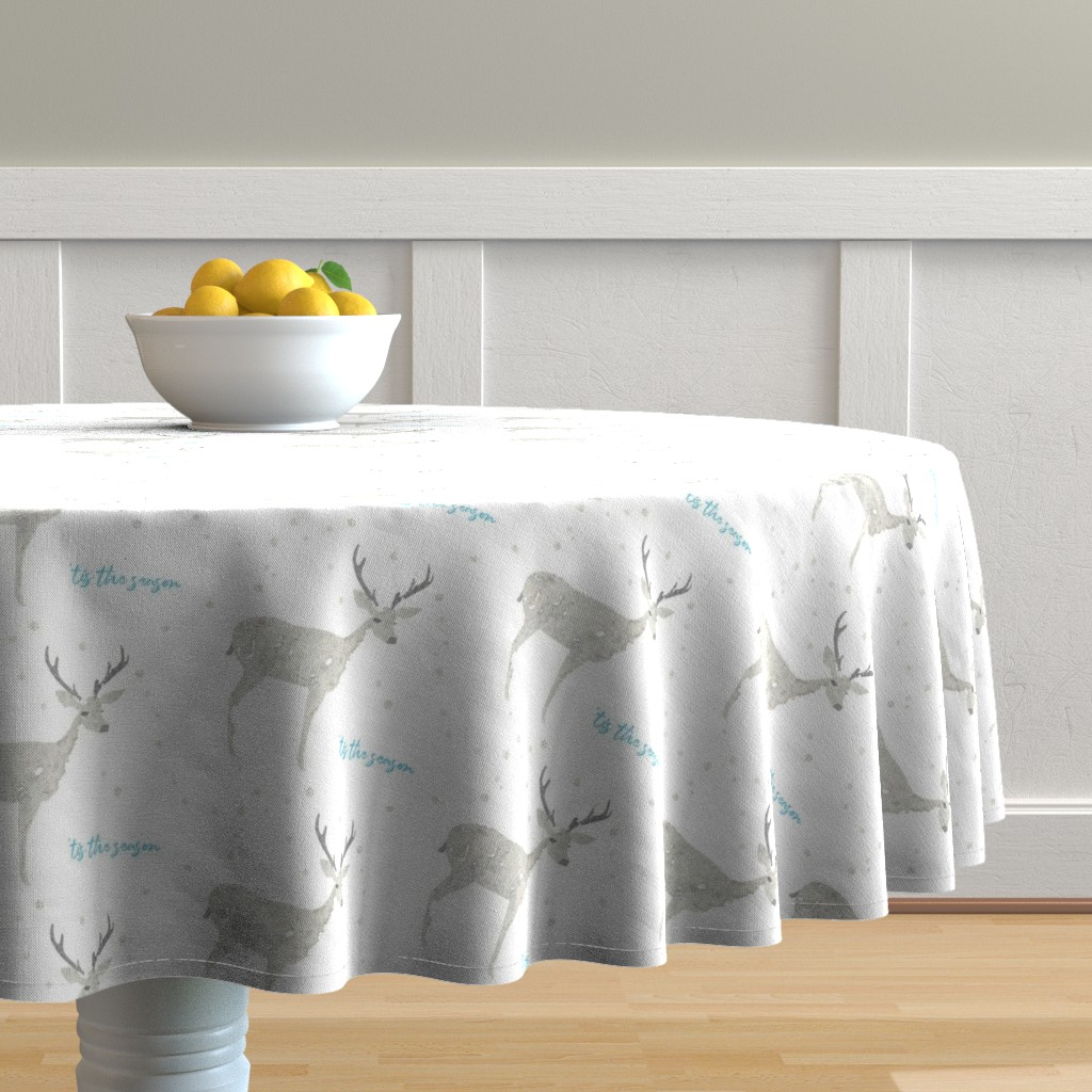 Malay Round Tablecloth featuring 'Tis the Season, Deer and Snowflakes Collage by kendrashedenhelm