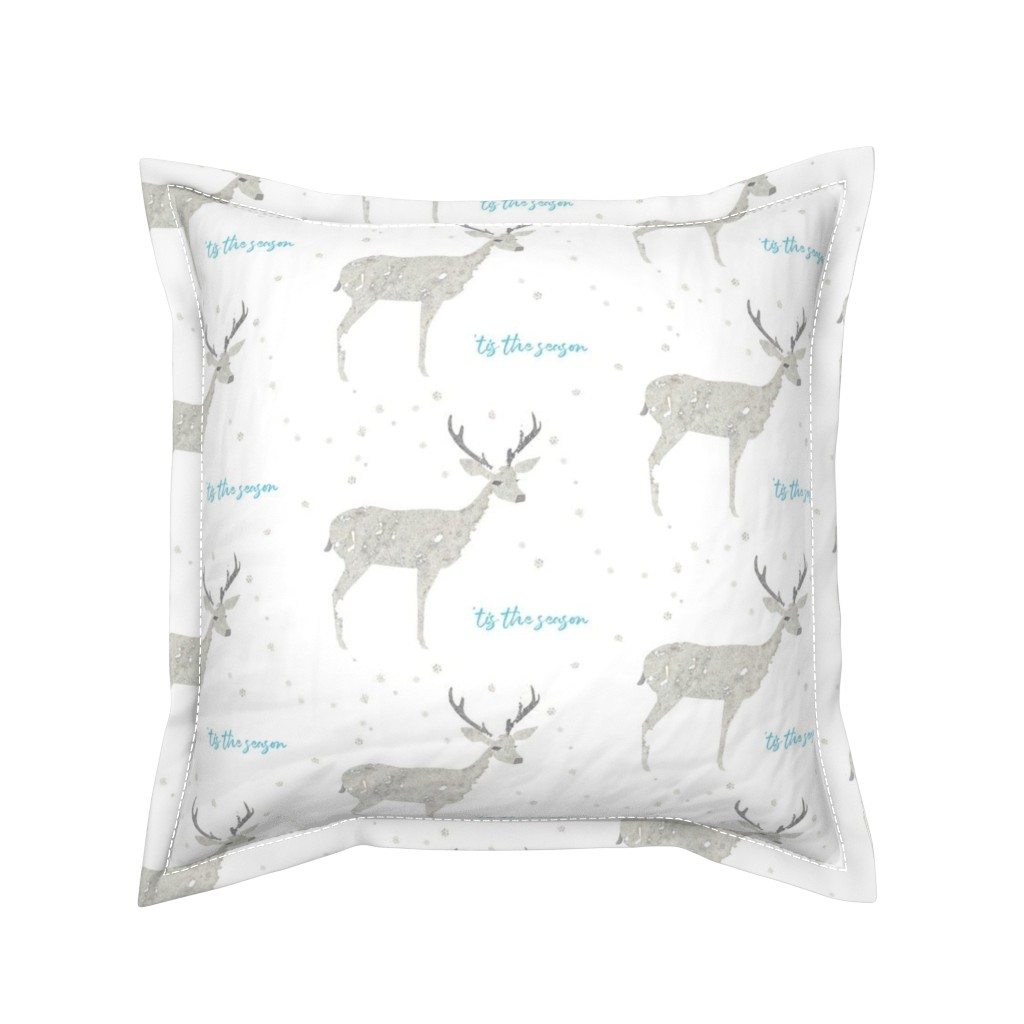 Serama Throw Pillow featuring 'Tis the Season, Deer and Snowflakes Collage by kendrashedenhelm