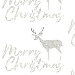 Merry Christmas Deer Collage in Winter Gray