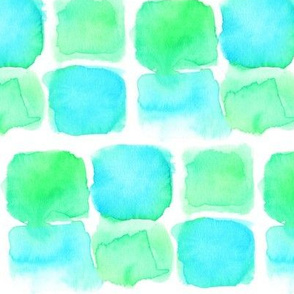 Sea Glass, Watercolor in blue and green