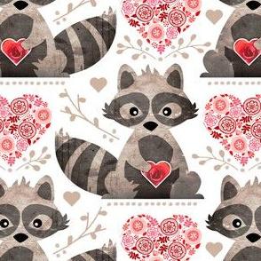 Raccoon's Valentine - Pink & Red