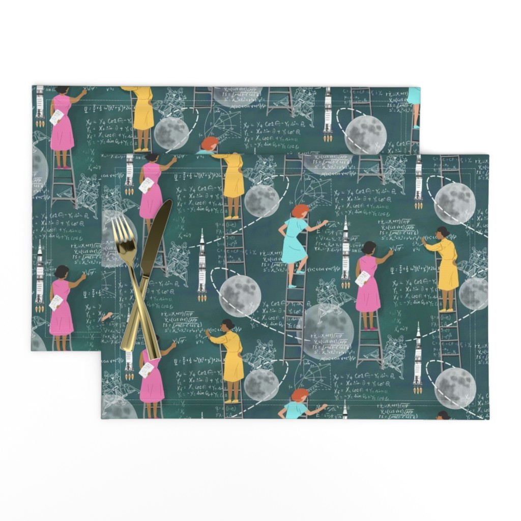Lamona Cloth Placemats featuring Calculating the Moon by vinpauld