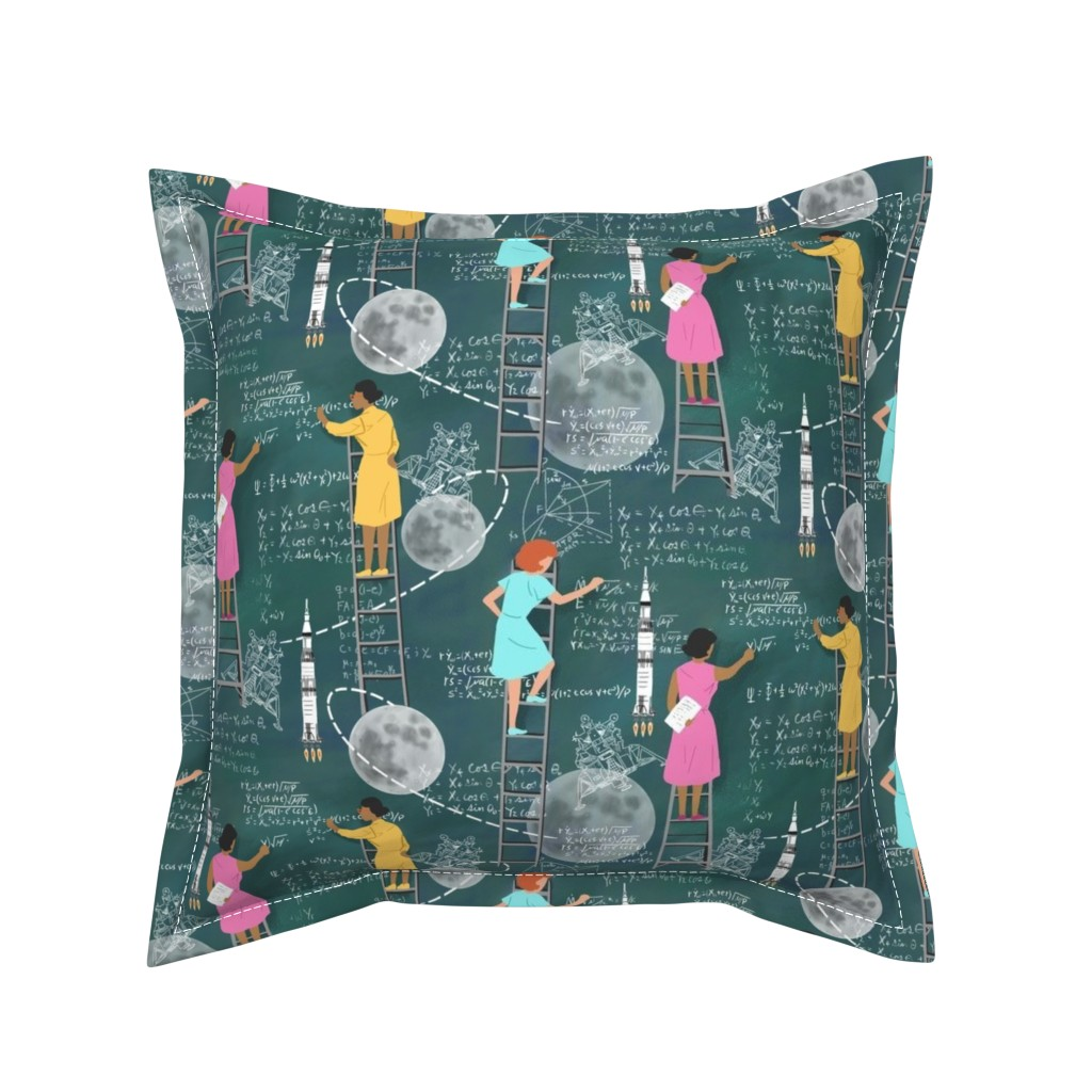 Serama Throw Pillow featuring Calculating the Moon by vinpauld