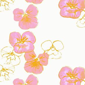 Violets - gold silk