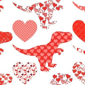 Valentine's Day Dinosaurs and Hearts