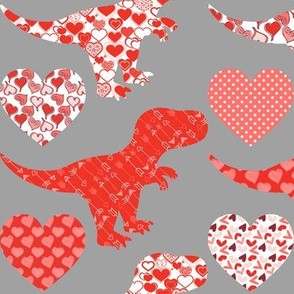 Valentine's Day Dinosaurs and Hearts on Grey