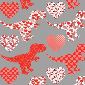 Valentine's Day Dinos and Hearts on Grey