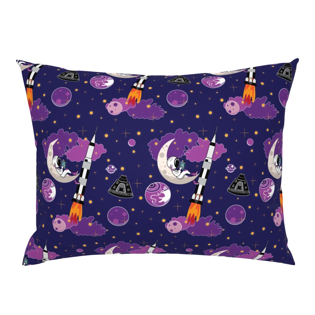 Campine Pillow Sham featuring Dreaming of Landing on the Moon by applebutterpattycake