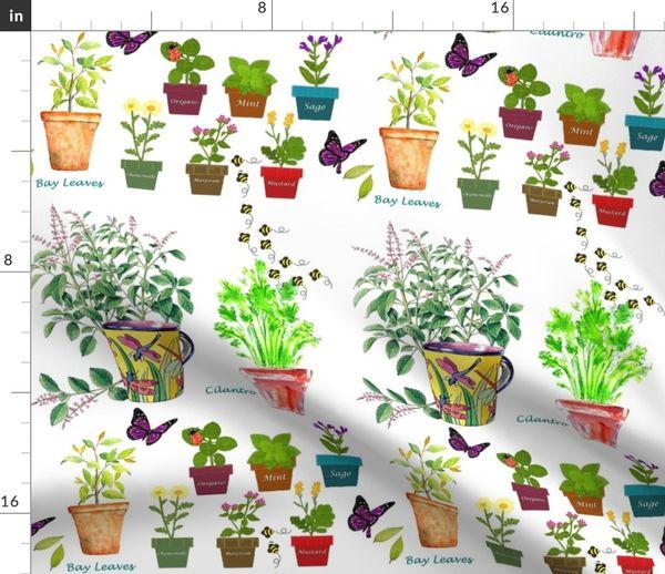 Herb Garden In Pots Pattern Spoonflower