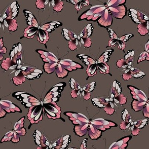 3 butterflies on brown-pink