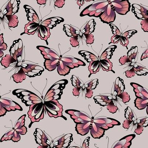 3 butterflies on pink flash