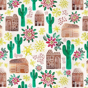 Small Watercolor Desert Gingerbread Village // © ZirkusDesign Holiday Houses with Saguaro Cacti, Poinsetta, Snowflakes, Glitter // Mid-Century Modern, Retro, Vintage Christmas