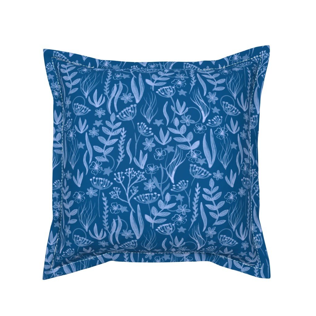 Serama Throw Pillow featuring Ocean Life in Diver by house_designer
