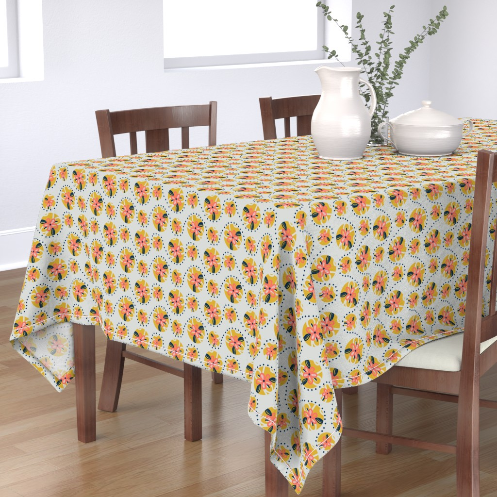 Bantam Rectangular Tablecloth featuring Circles of Summer / Flowers & Dots  by franbail