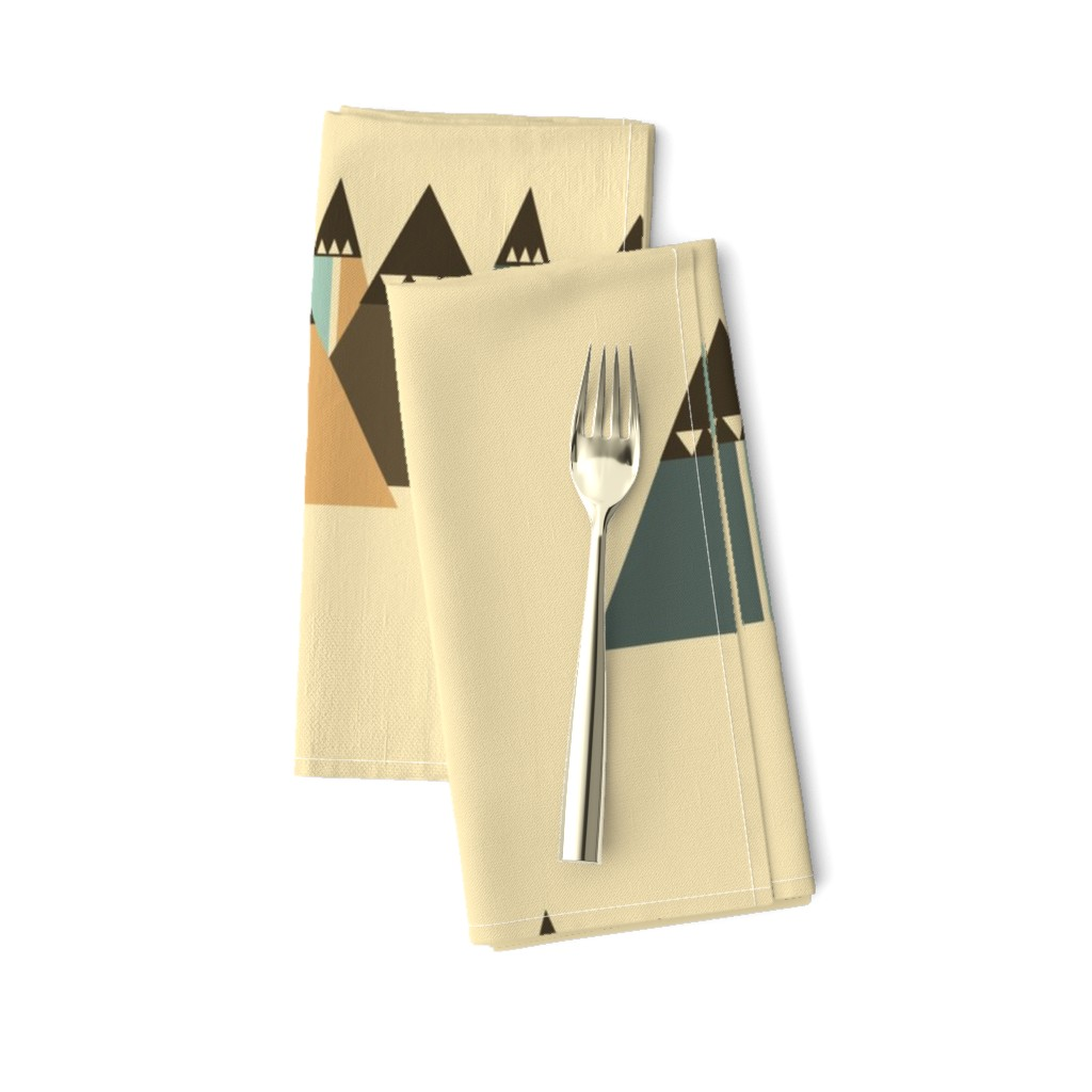 Amarela Dinner Napkins featuring Abstract Mountains by saralinegraphics