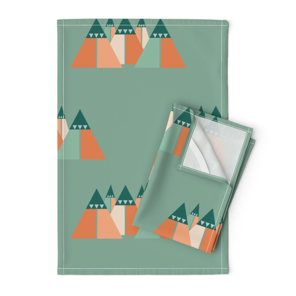 Orpington Tea Towels featuring Abstract mountain chain by saralinegraphics