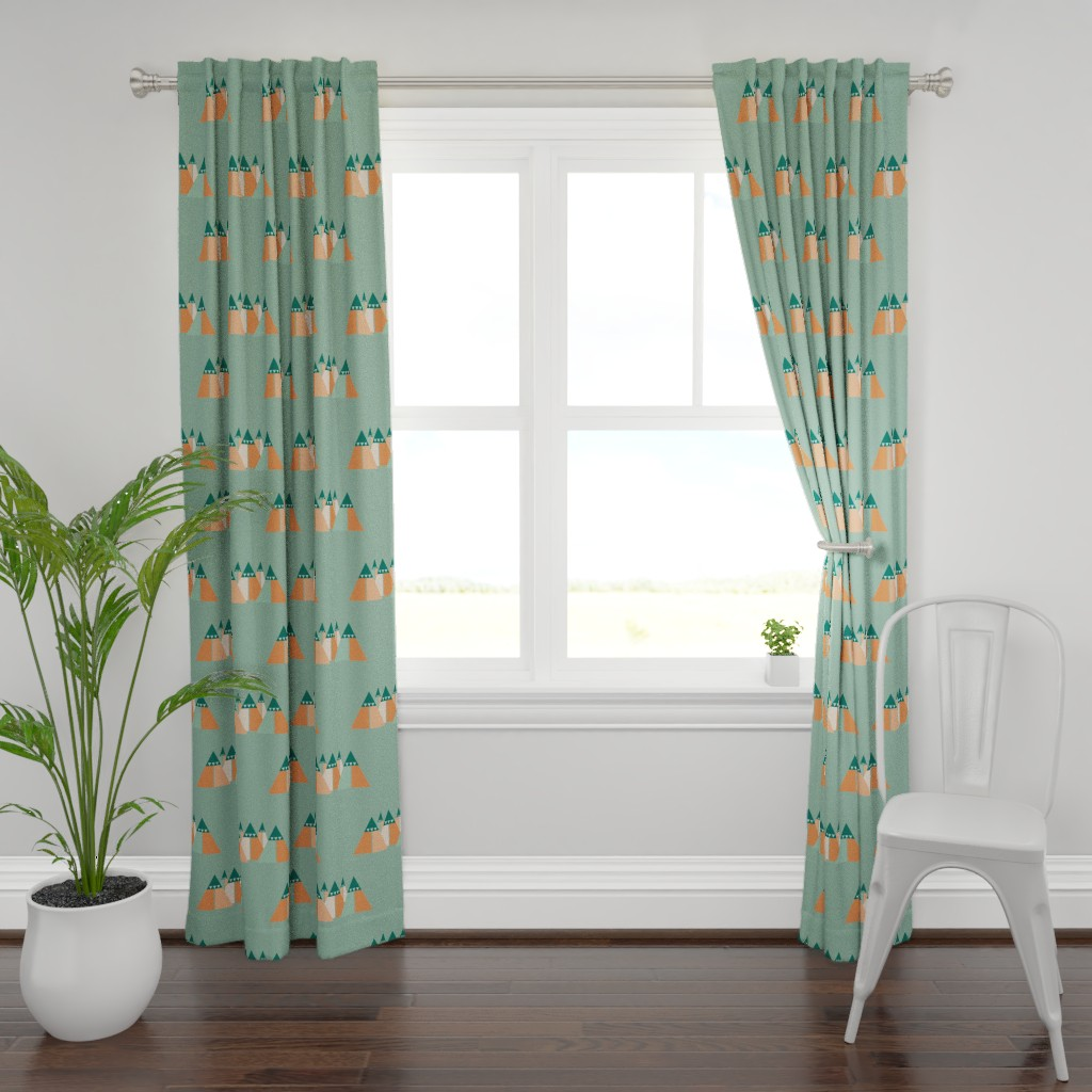 Plymouth Curtain Panel featuring Abstract mountain chain by saralinegraphics