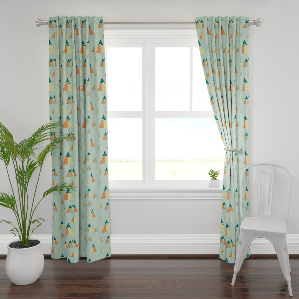 Plymouth Curtain Panel featuring abstract moutnain chain by saralinegraphics