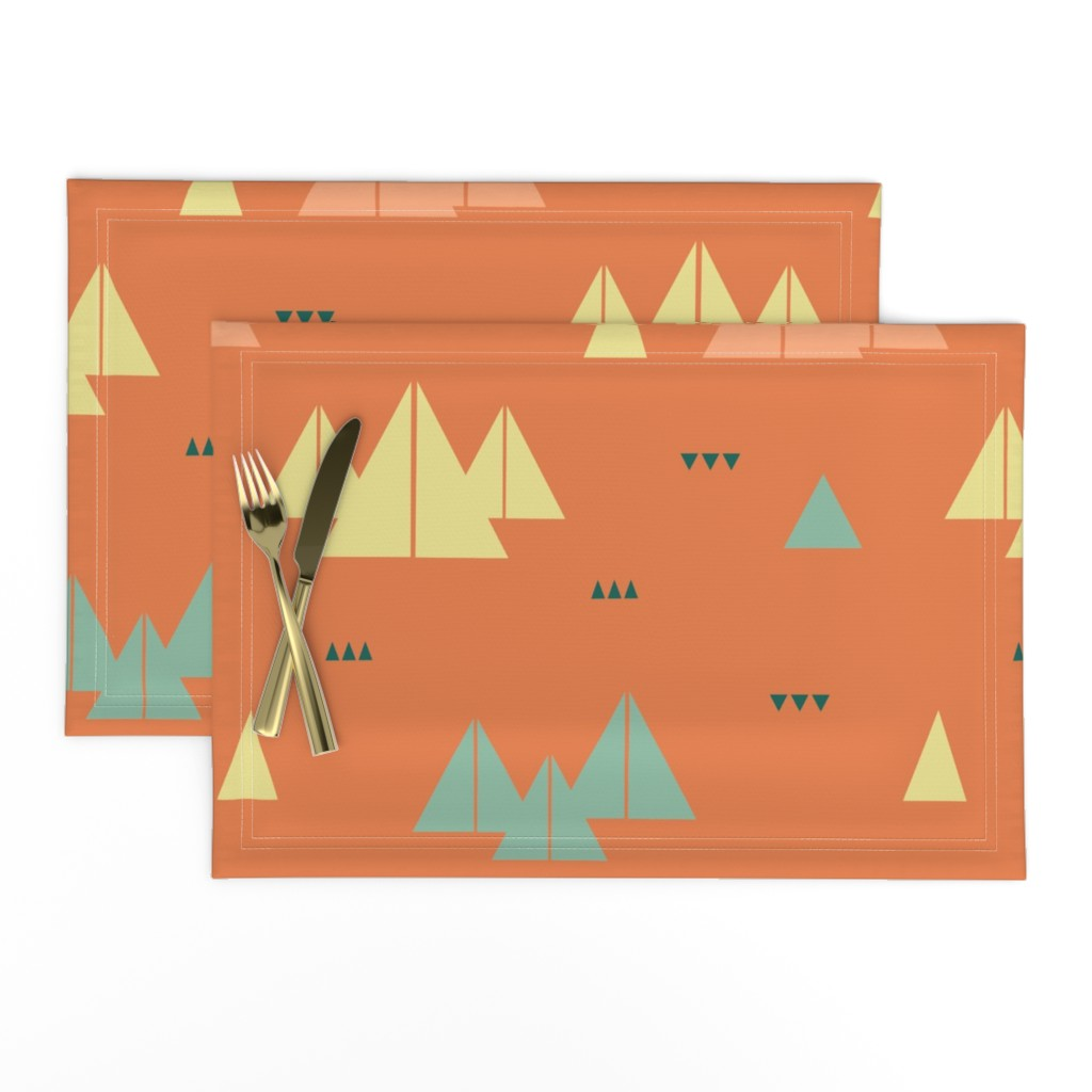 Lamona Cloth Placemats featuring abstract mountains by saralinegraphics