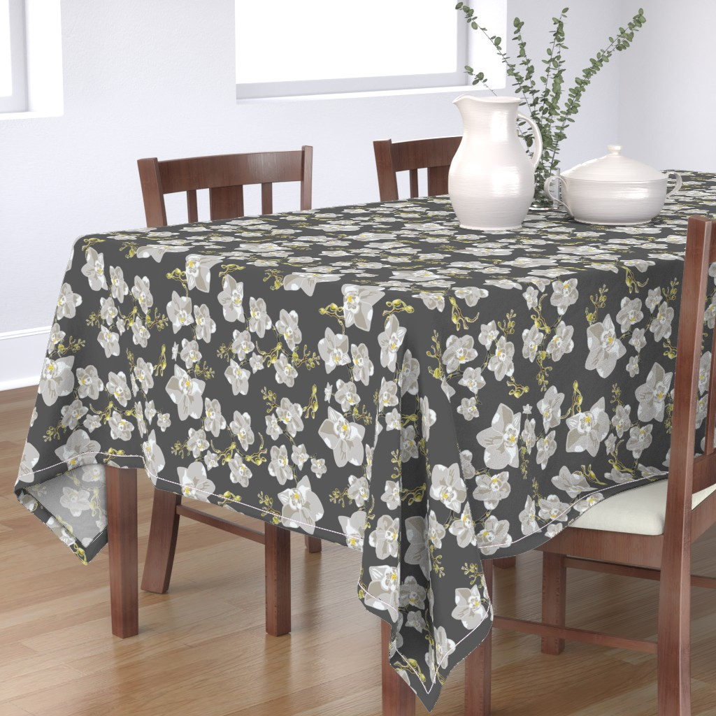Bantam Rectangular Tablecloth featuring Orchids by saralinegraphics