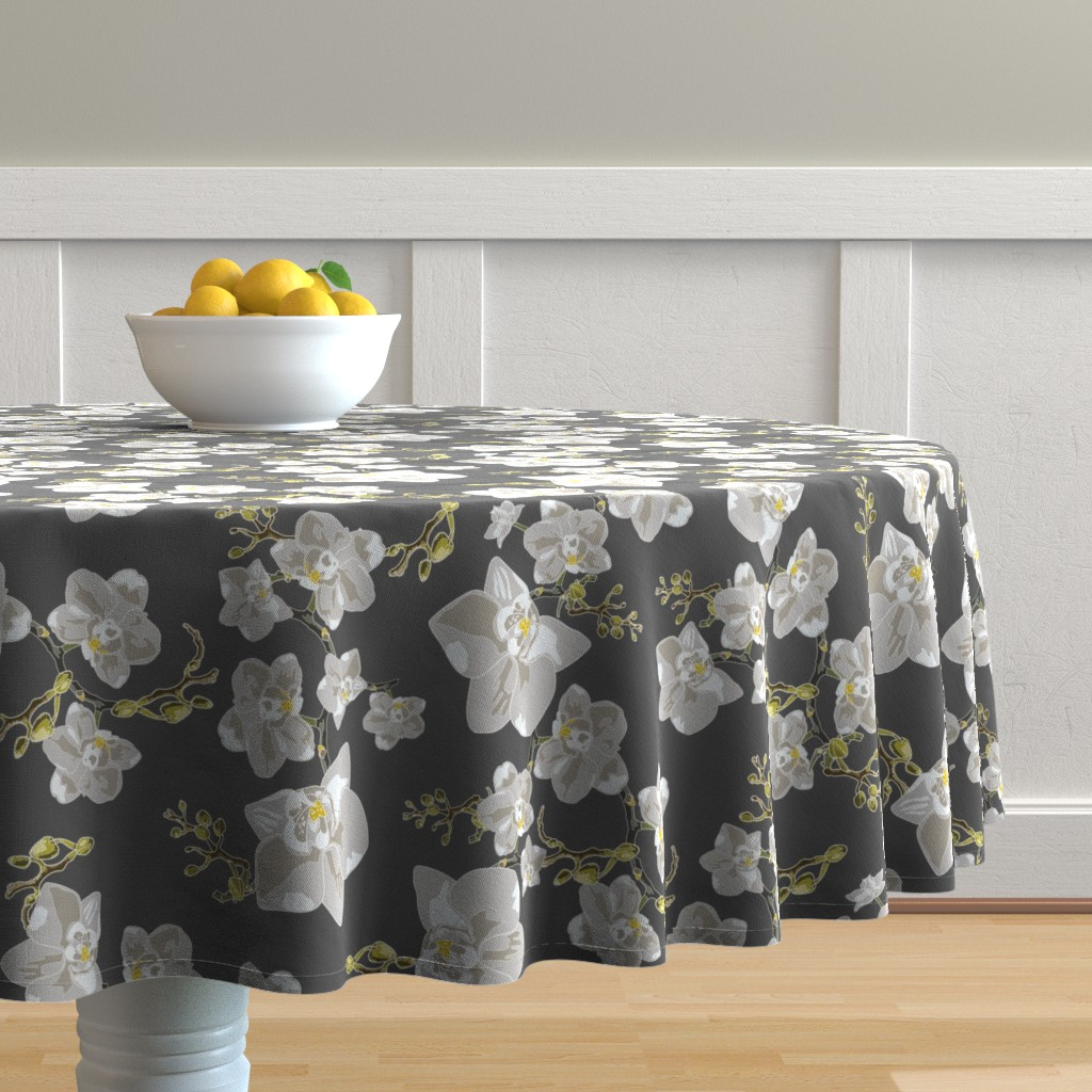 Malay Round Tablecloth featuring Orchids by saralinegraphics