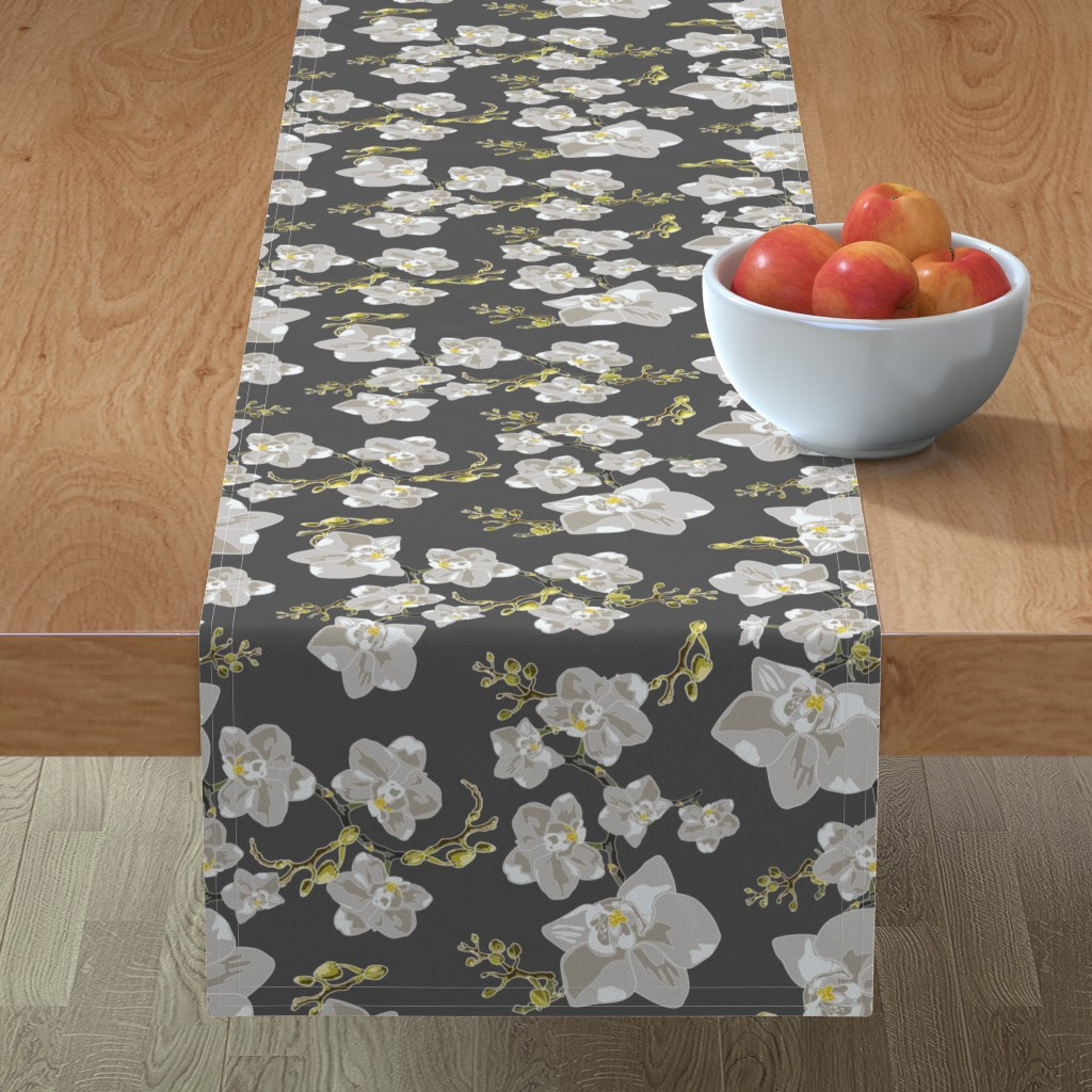 Minorca Table Runner featuring Orchids by saralinegraphics