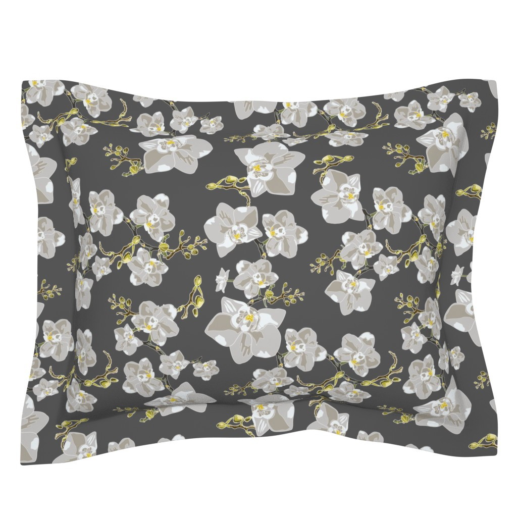 Sebright Pillow Sham featuring Orchids by saralinegraphics