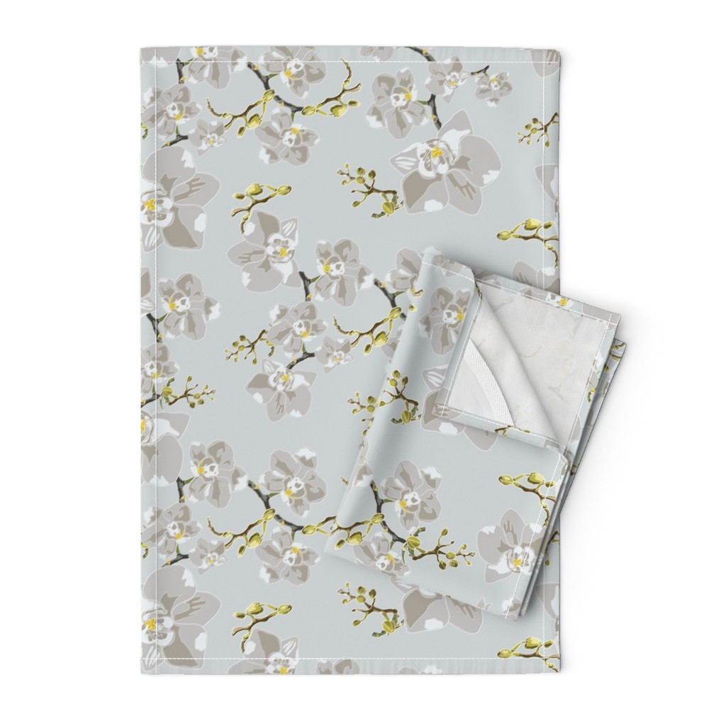 Orpington Tea Towels featuring Orchids by saralinegraphics