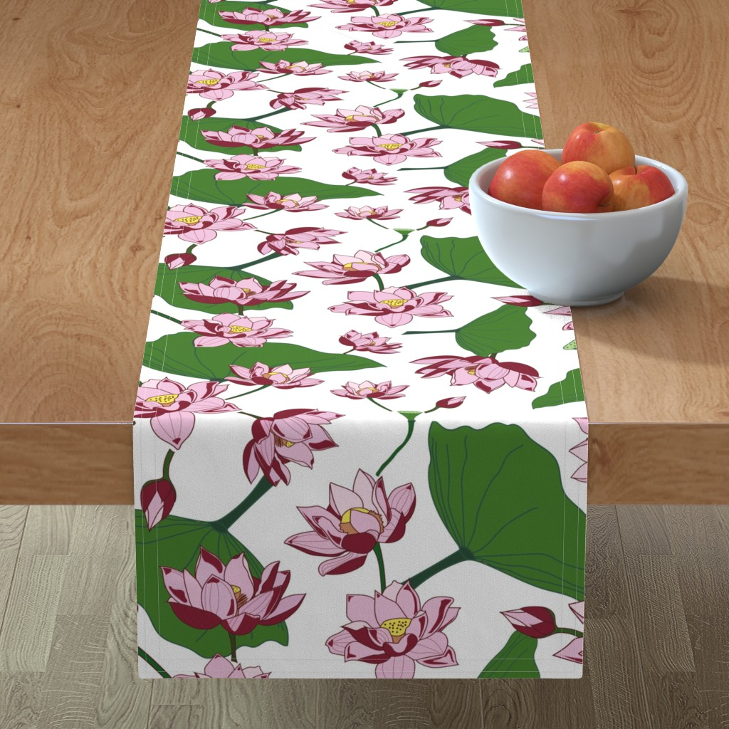 Minorca Table Runner featuring Waterlily by saralinegraphics