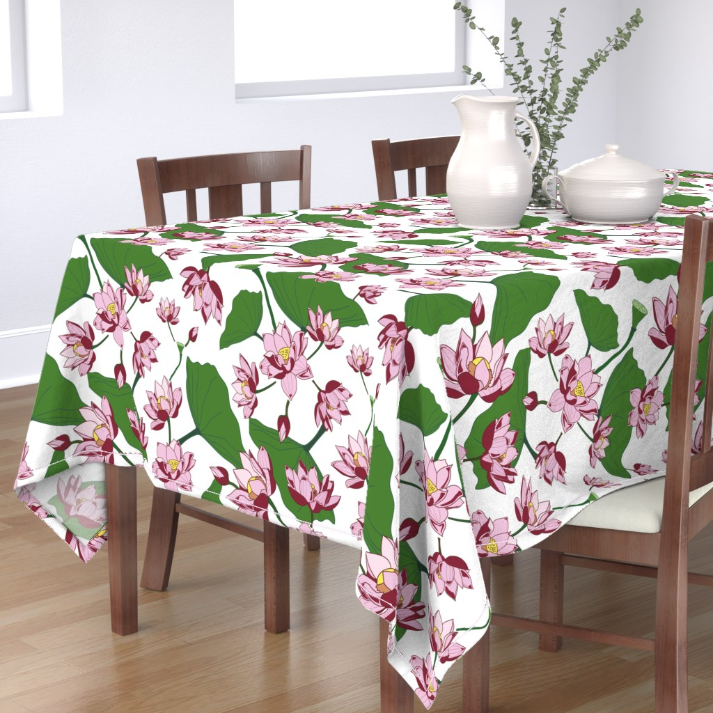 Bantam Rectangular Tablecloth featuring Waterlily by saralinegraphics