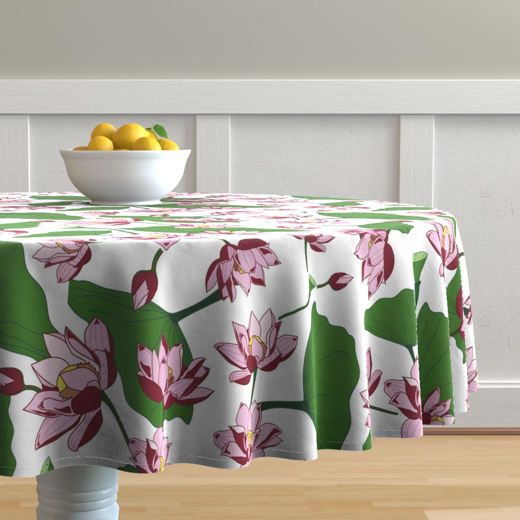 Malay Round Tablecloth featuring Waterlily by saralinegraphics