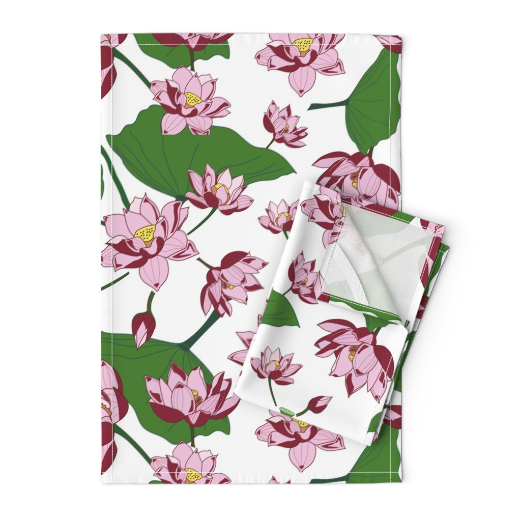 Orpington Tea Towels featuring Waterlily by saralinegraphics