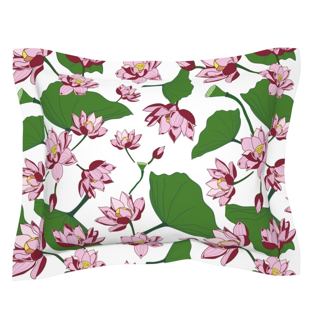 Sebright Pillow Sham featuring Waterlily by saralinegraphics