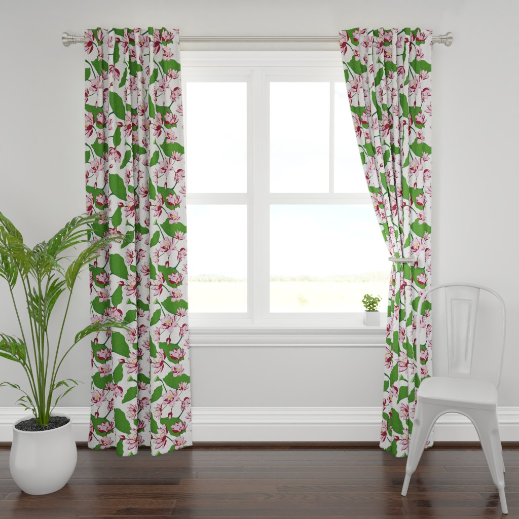 Plymouth Curtain Panel featuring Waterlily by saralinegraphics