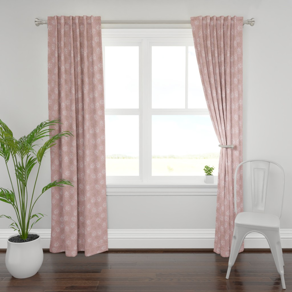Plymouth Curtain Panel featuring Pink Leaves by saralinegraphics
